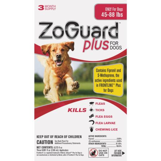 ZoGuard Plus 3-Month Supply Flea & Tick Treatment For Dogs 45 Lb. to 88 Lb.