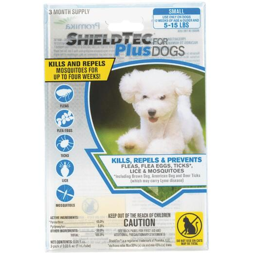 ShieldTec Plus 3-Month Supply Flea & Tick Treatment For Small Size Dogs 5 Lb. to 15 Lb.