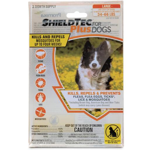 ShieldTec Plus 3-Month Supply Flea & Tick Treatment For Large Size Dogs 34 Lb. to 66 Lb.