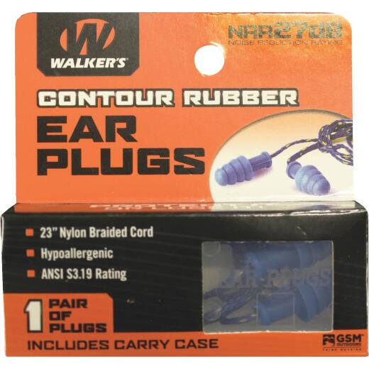 Walker's Contour Rubber Corded Blue Ear Plugs