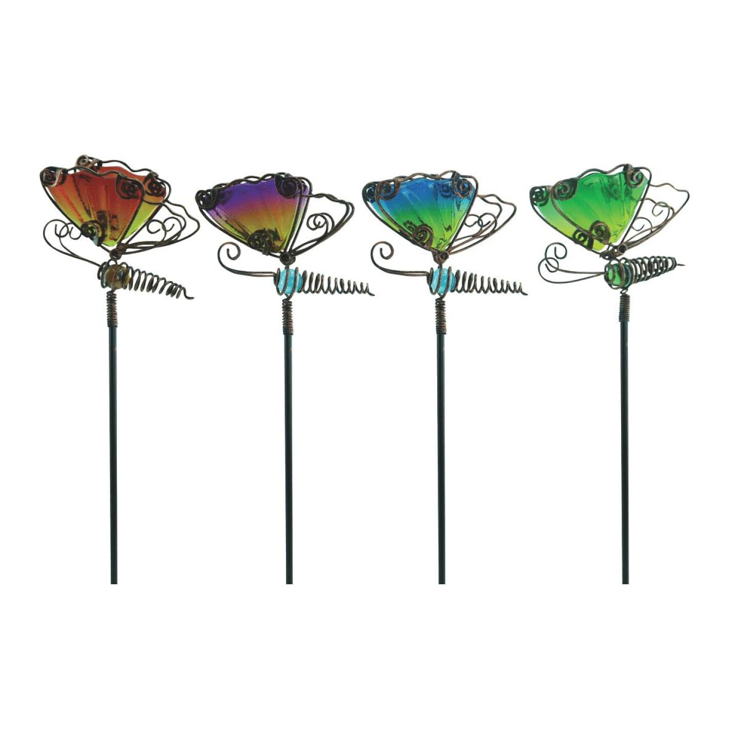 Alpine 15 In. H. Metal & Glass Wiggle Motion Butterfly Garden Stake Lawn Ornament Image 1