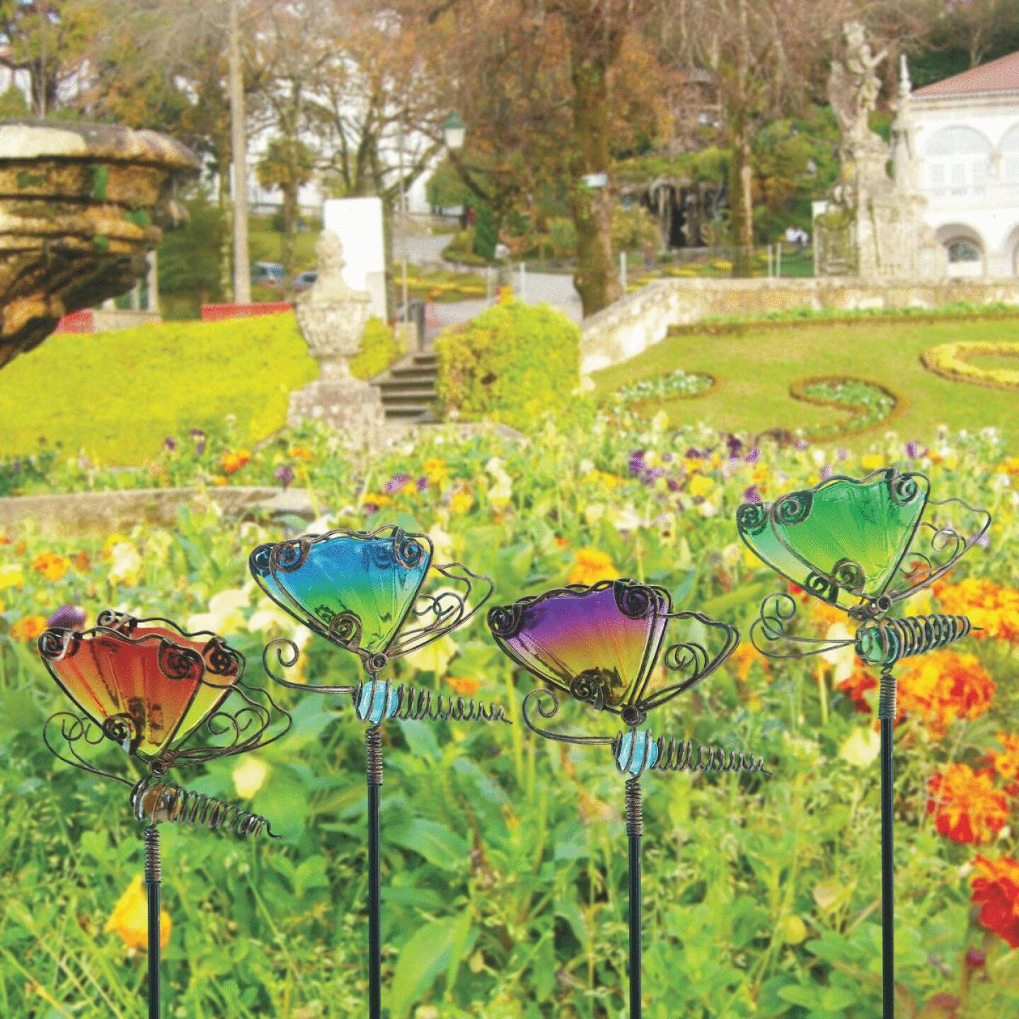 Alpine 15 In. H. Metal & Glass Wiggle Motion Butterfly Garden Stake Lawn Ornament Image 2