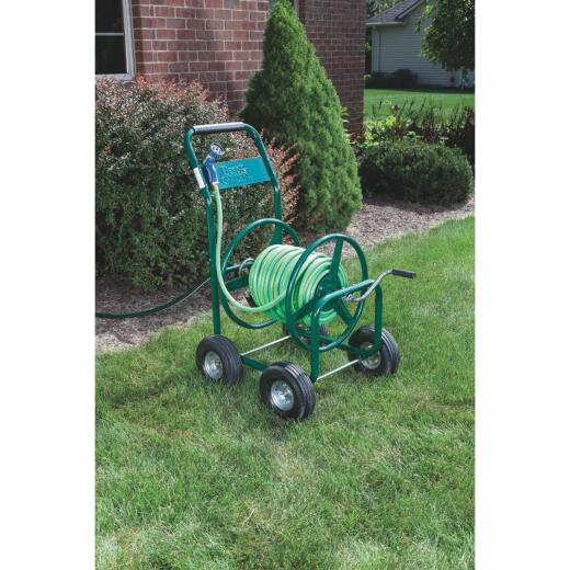 Best Garden 300 Ft. x 5/8 In. Green Metal 4-Wheel Portable Hose Reel