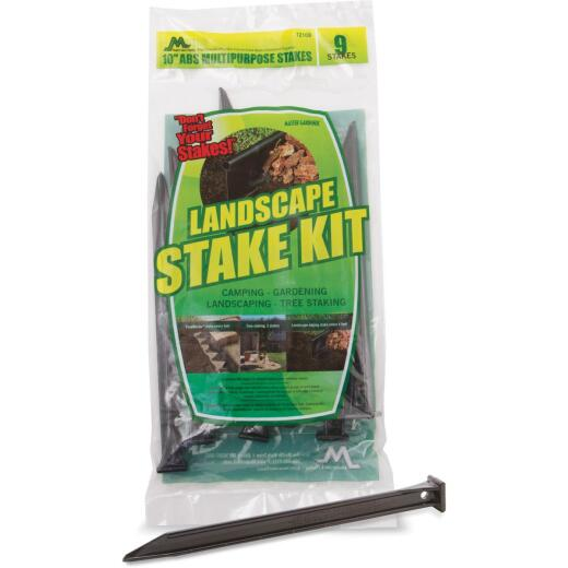 Master Gardener 10 In. ABS Black Multipurpose Landscape Stakes (9-Pack)