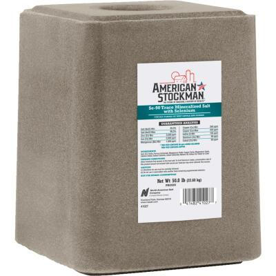 American Stockman 50 Lb. Trace Mineralized Salt With Selenium 90 Salt Block