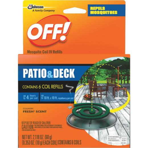 OFF! 4 Hr. Patio & Deck Coil Mosquito Repellent Refill (6-Pack)