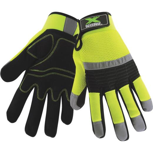 West Chester Protective Gear Extreme Work Men's Medium Synthetic Leather High Visibility Work Glove