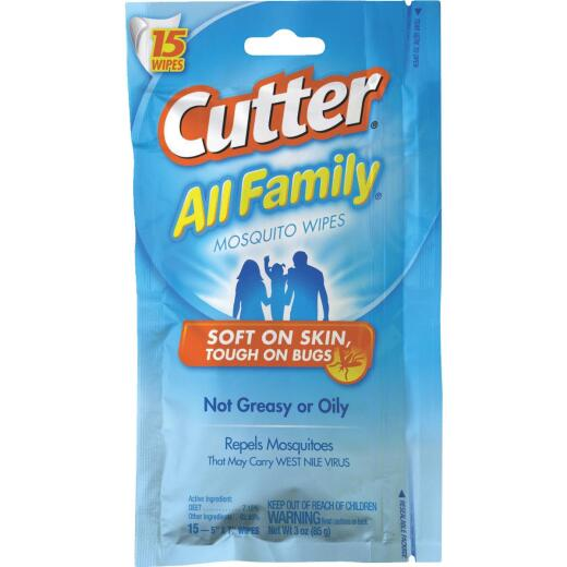 Cutter All Family Insect Repellent Wipes (15-Pack)