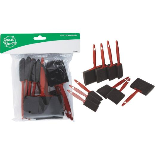 Smart Savers 1 In., 2 In., 3 In., 4 In. Foam Brush Set with Plastic Handles (10-Pieces)