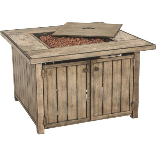 Aspen 38 In. Faux Wood Square Gas Fire Pit Table
