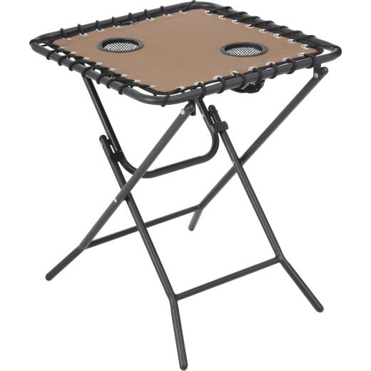 Outdoor Expressions Tan 18 In. Square Steel Folding Side Table