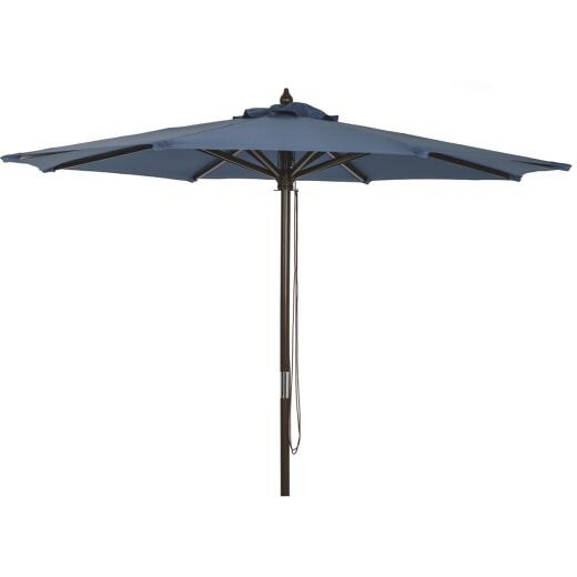 Outdoor Expressions 7.5 Ft. Pulley Heather Blue Market Patio Umbrella with Chrome Plated Hardware