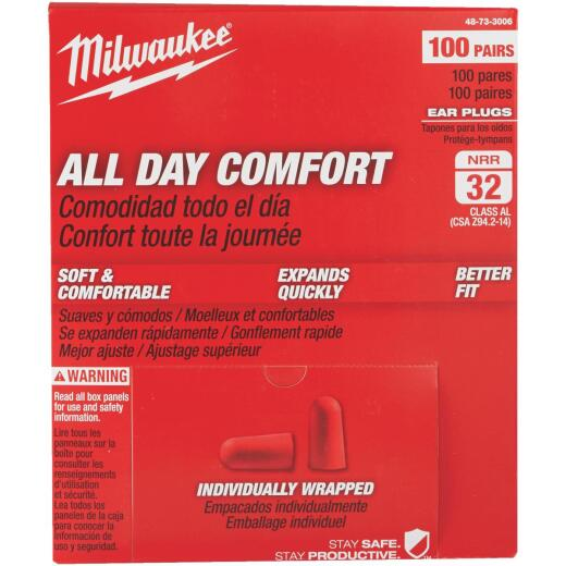Milwaukee Foam 32 dB Individually Wrapped Ear Plugs (100-Pair)