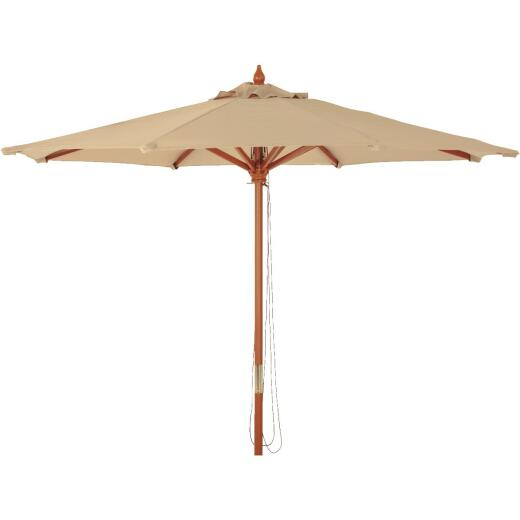 Outdoor Expressions 7.5 Ft. Pulley Tan Market Patio Umbrella with Brass Plated Hardware
