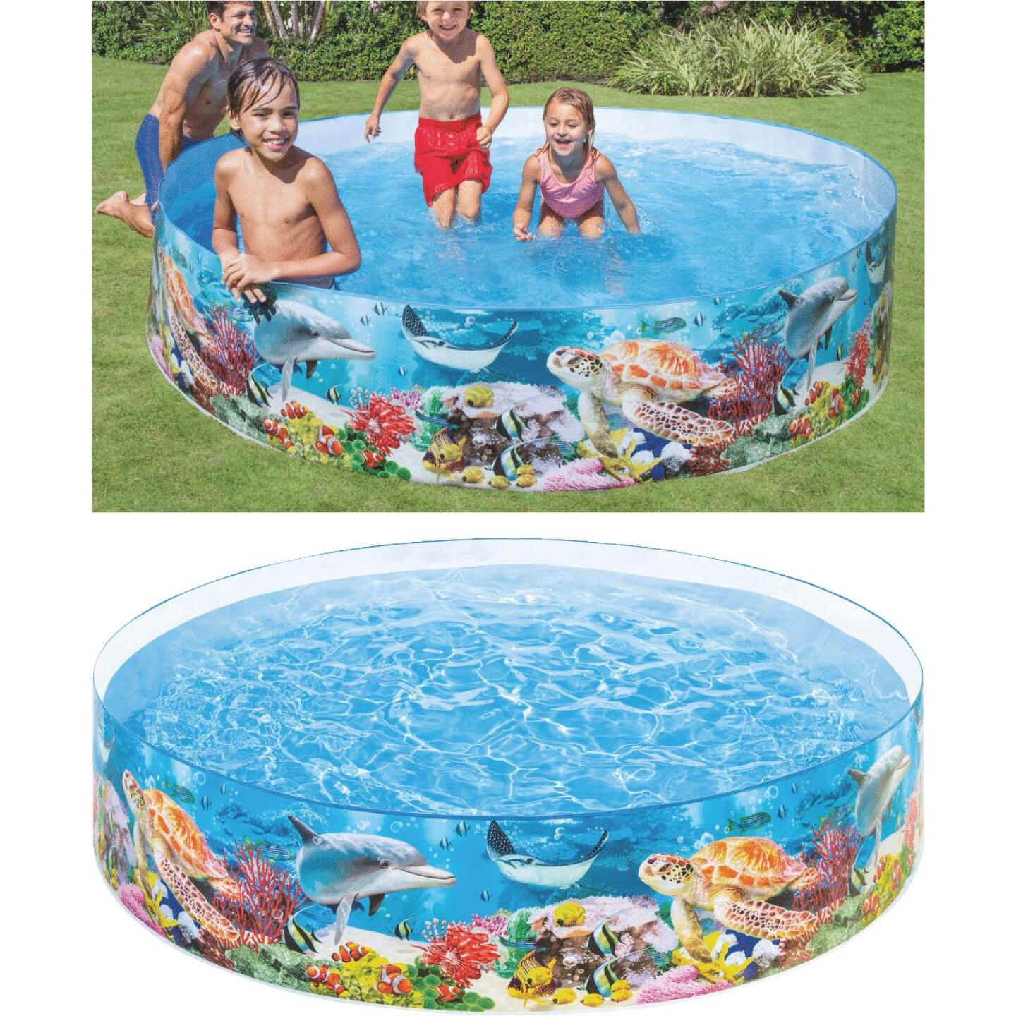Intex 18 In. D. x 8 Ft. Dia. Polyethylene Deep Blue Sea Snapset Pool Image 1